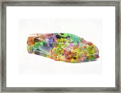 Lamborghini Gallardo Colorful Abstract On White Framed Print by Eti Reid