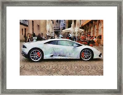 Lamborghini Huracane Lp 610-4 Parked In The City Framed Print