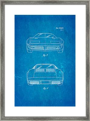 Lamborghini Style Gmc Automobile 2 Patent Art 1974 Blueprint Framed Print by Ian Monk