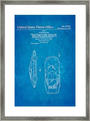 Lamborghini Style Gmc Automobile Patent Art 1974 Blueprint Framed Print