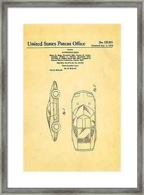 Lamborghini Style Gmc Automobile Patent Art 1974 Framed Print
