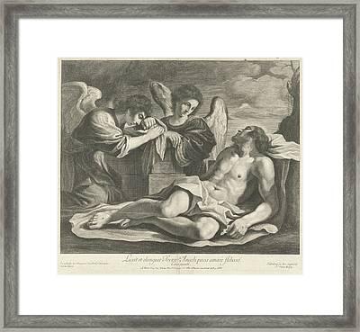 Lamentation Of Christ By Angels, Nicolas Pitau Framed Print