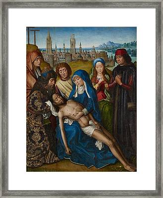 Lamentation With Saint John The Baptist And Saint Catherine Of Alexandria Framed Print by Master of the Legend of Saint Lucy