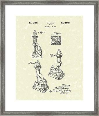 Lamp 1940 Patent Art Framed Print