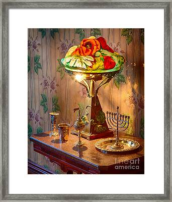 Lamp And Menorah Framed Print