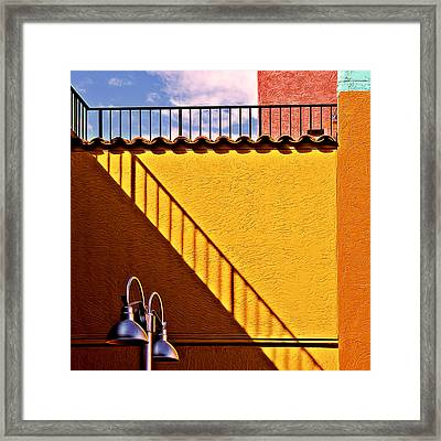 Lamp And Shadows And Colors Framed Print by Maria Coulson