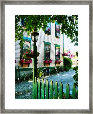Lamp And Window Boxes Framed Print by Susan Savad