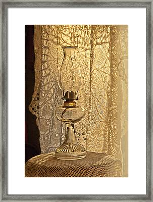 Framed Print featuring the photograph Lamp By The Window by Lena Wilhite