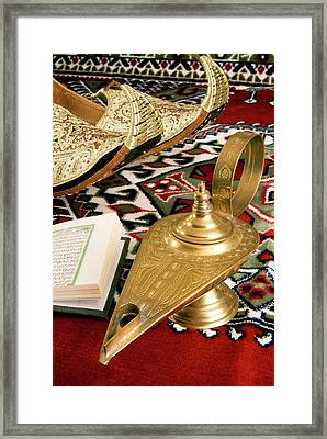 Lamp Of Aladdin, Arabic Shoes, Holy Framed Print by Nico Tondini