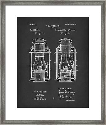 Lamp Pomeroy 1894 Patent Art Black Framed Print by Prior Art Design