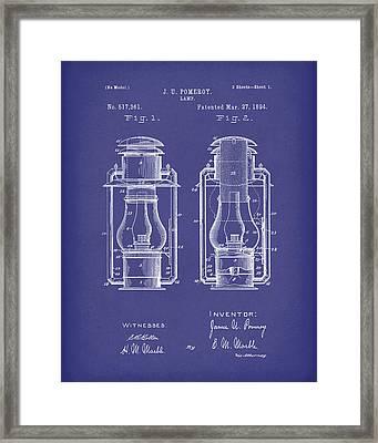 Lamp Pomeroy 1894 Patent Art Blue Framed Print by Prior Art Design