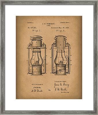 Lamp Pomeroy 1894 Patent Art Brown Framed Print by Prior Art Design