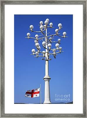 Lamp Post And Flag Georgia Framed Print by Robert Preston