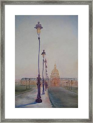 Lamp Post In Front Of Dome Church, 2010 Oil On Canvas Framed Print