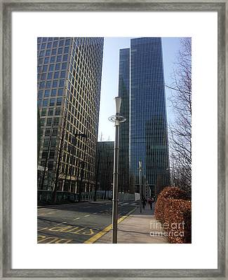 Lamp Post Skyscrapers Framed Print by Victoria Moraru