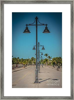 Lamp Posts White Street Pier Key West - Hdr Style Framed Print by Ian Monk