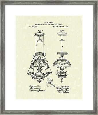 Lamp Suspender 1887 Patent Art Framed Print by Prior Art Design