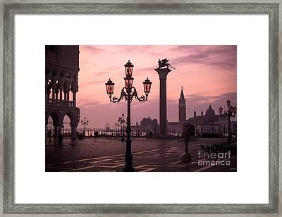 Lamppost Of Venice Framed Print by Prints of Italy