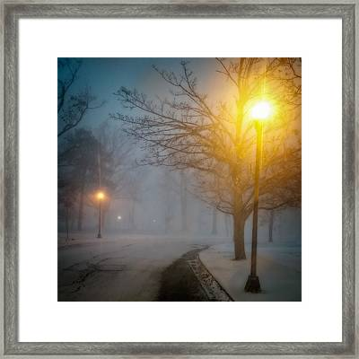 Lamppost Snowscape Framed Print by Chris Bordeleau