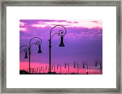 Lampposts In Purple Framed Print by Prints of Italy