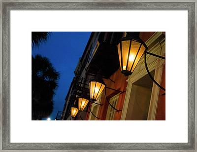 Lamps Lining The Streets At Duck Framed Print by Julien Mcroberts