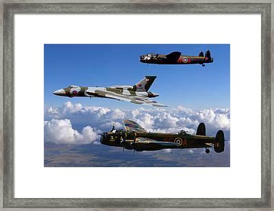 Lancaster Bombers And Vulcan Xh558 Framed Print by Ken Brannen