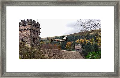 Lancaster Kc-a At The Derwent Dam Framed Print by Gary Eason