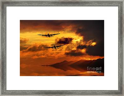 Lancasters And Sun Rays  Framed Print by J Biggadike