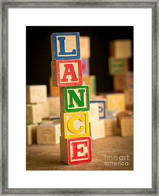 Lance - Alphabet Blocks Framed Print by Edward Fielding