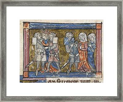 Lancelot And Guinevere Kiss Framed Print by British Library