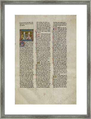 Lancelot Conversing With A Lady Framed Print by British Library