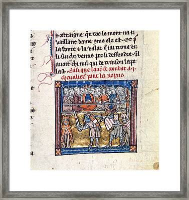 Lancelot Fights For Guinevere Framed Print by British Library