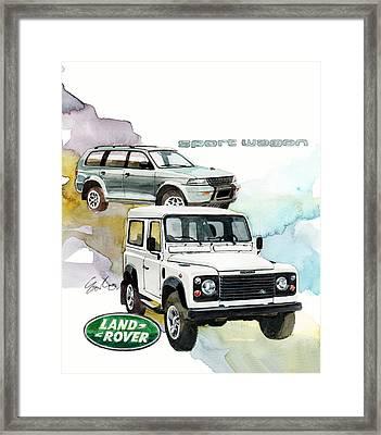 Land Rover Defender And Mitsubishi Sport Wagon Framed Print by Yoshiharu Miyakawa