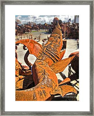 Framed Print featuring the painting Land Shark by Gregory Dyer