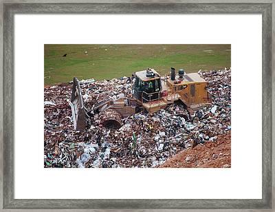 Landfill Waste Disposal Bulldozer Framed Print