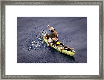 Landing A Big One By Hand Line Framed Print