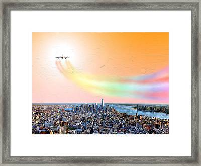 Landing At J. F. Kennedy International Airport Framed Print