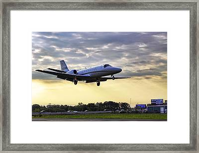Framed Print featuring the photograph Landing At Sunrise by Jason Politte