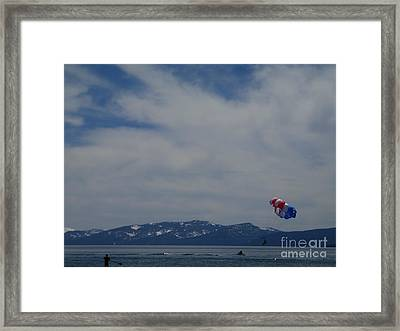 Framed Print featuring the photograph Parasail Landing by Bobbee Rickard
