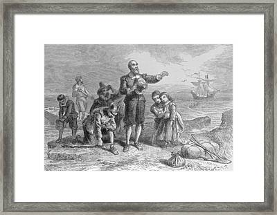 Landing Of The Pilgrims, 1620, Engraved By A. Bollett, From Harpers Monthly, 1857 Engraving B&w Framed Print by Felix Octavius Carr Darley
