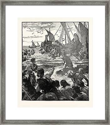 Landing Of The Romans On The Coast Of Kent Framed Print by English School