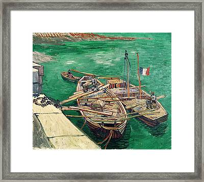 Landing Stage With Boats Framed Print