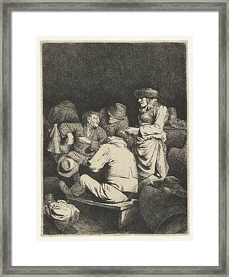 Landlady And Companionship In Inn Framed Print