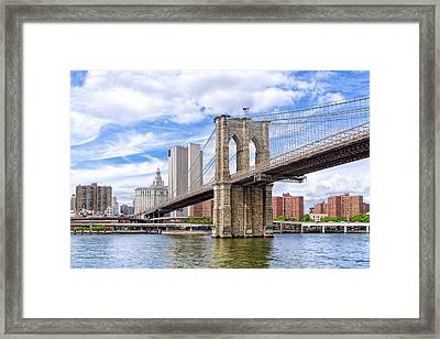 Landmark Brooklyn Bridge Framed Print by Mark E Tisdale