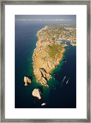 Land's End Aereal View Framed Print by Camilla Fuchs