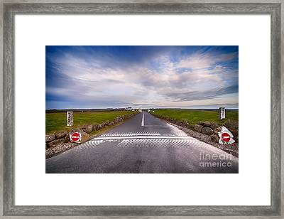Lands End Start And Finish Line Framed Print by Chris Thaxter