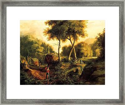 Framed Print featuring the painting Landscape - 1845 by Thomas Cole