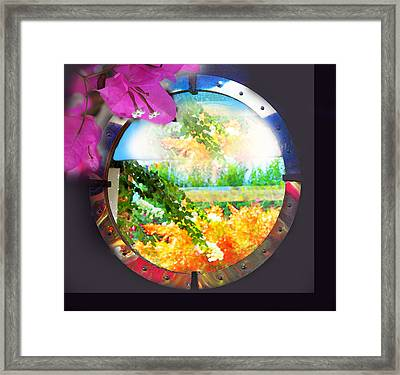 Landscape And Bougainvilleas Framed Print by Augusta Stylianou