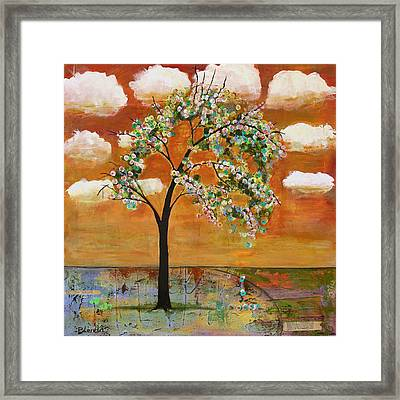 Landscape Art Scenic Tree Tangerine Sky Framed Print by Blenda Studio