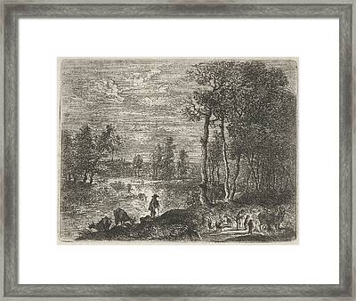 Landscape At Night With Farmers And Livestock Framed Print by Artokoloro